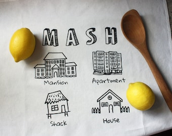 MASH Game Tea Towel / Mansion Apartment Shack House / 80s / 90s / Nostalgia / New House Gift / New Apartment Gift / First Apartment