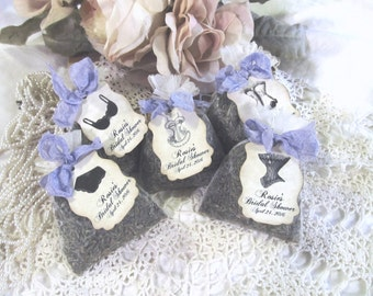 Lingerie Shower Favor Organza Mini Lavender Sachet with Tags- Set of 10 - Choose Style & Ribbons- Bridal Bachelorette Lingerie Shower