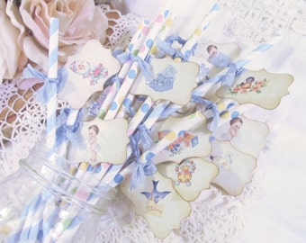 It's a Boy Vintage Baby Party Straws w/Tags - Baby Shower Favor -  Set of 18 Ready to Ship - its a boy favor drink stir