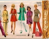 Vintage 70s Mini Dress Vest Pants Sewing Pattern Size 16 Bust 38 Mod Lined Vest A-line Back Zipper Dress Elastic Waist Pants Simplicity 9029