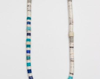 multi-stripe fiber necklace - peacock blue