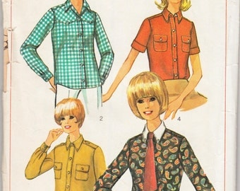 "Vintage Sewing Pattern 1960's Misses' Blouses Simplicity 6929 34"" Bust- Free Pattern Grading E-book Included"