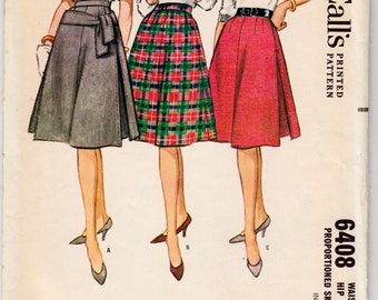 "1950's Vintage Sewing Pattern Ladies' A-line Skirts McCall's 6408 28"" Waist- Free Pattern Grading E-book Included"