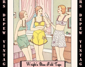 Vintage Sewing Pattern E-book Wright's Bias Fold Tape Book No. 25 & Full Pattern Sheet - INSTANT DOWNLOAD