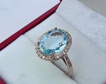 AAAA Blue Aquamarine 14 x 11mm Oval 2.48 Carat 14K Rose gold and diamond Halo ring 0753 y