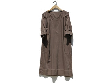 Vintage Toffee Bar Brown Boxy Dress / Midi dress