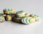 12 Opaque Beige Picasso Turquoise Etched Design 13x8mm Czech Glass Cocoon Beads