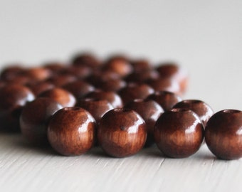 100 Walnut 8mm Wood Beads