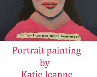 Acrylic Woman Portrait Art Painting. Mixed Media Collage Art. Pink & Gray Wall Art Decor. Miz Katie Art