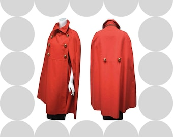 1960s MOD Orange Cape Rain Double Breasted Country Place Gold Buttons