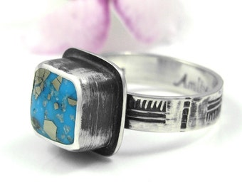 Kingman Turquoise Ring - sterling silver distressed turquoise ring with pyrite - US size 8.25 - natural old stock turquoise - size 8 1/4