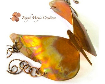 Colorful Butterfly Copper Cuff Bracelet. Antique Copper. Rustic Chain. Toggle Clasp. Eco Friendly Upcycled Repurposed Industrial Sheet Metal