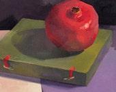 "Art painting fruit still life ""Dark Pomegranate"" original by Oregon artist Sarah Sedwick 8x8"""