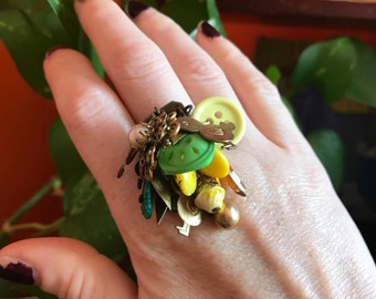 Charm Ring // Statement Ring // Adjustable Ring // Unusual Unique Colorful Jewelry // Unique Rings // Upcycled Jewelry // Fun Jewelry