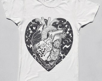 Heart T shirt for women, Heart shirt, Women's tshirts,  Anatomical, transplant heart, graphic tee, heart print, t shirt with heart print