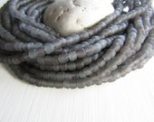 Matte Grey seed Beads, small grey glass bead, rustic translucent spacer tube barrel , New Indo-pacific 3 to 6mm (22 inch strd) 6BB1-13
