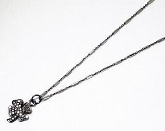 Pavé Diamond Clover Necklace Genuine Diamond Necklace April Birthstone Real Diamond Pendant PD-N-125-os-Clover