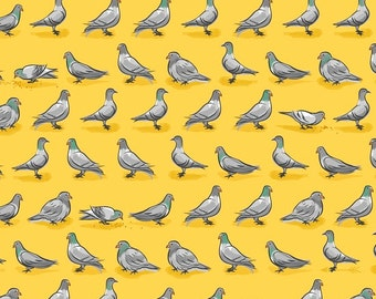Pigeons Yellow City Life Quilting Treasures Fabric 1 yard