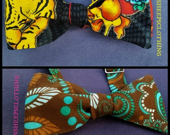 Adjustable Bow Tie Your Choice - Tiger Tattoo Flames or Chocolate Teal