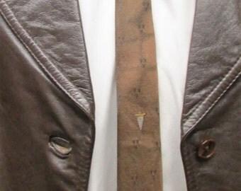 Vintage 1950's Necktie Bronze Brown Regal Label Silk Dacron Polyester Blend Skinny Tie