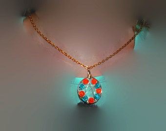 Sale Orange and Teal Blue Silver and Gold Wire Wrapped Bead Dream Catcher Style  Pendant with Goldtone Chain Necklace Handmade Gift