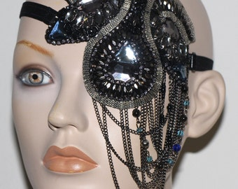 Flapper girl burlesque glamour bejeweled chain chandelier eye patch High fashion fancy dress