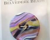 Dessert Sunset - art glass button - white, purple, black and pale yellow swirls - two hole