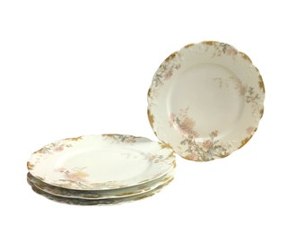 1900s  4 Limoges Dinner Plates, Vintage Fine China, Art Nouveau Elegance