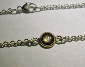 """Star Sapphire Necklace, Sterling Silver & 18k Gold, 18.75"""" Chain, Genuine Black Star Cabochon - over 2 carats!!"""