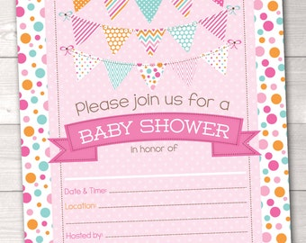 Fill In Baby Shower Invitations Polka Dotty Pink Blue & Orange Polka Dotted Printable Girls Baby Shower Invitation INSTANT DOWNLOAD