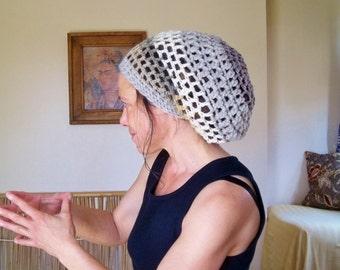SLOUCH HAT Natural Handmade Crochet Hat Rasta Hat WOOL Hat Slouchy Hat Dread Hat    * GRey n CReaM *