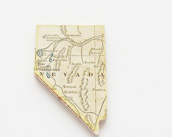 1915 Nevada Brooch - Pin / Unique Wearable History Gift Idea / Upcycled Antique Wood Jewelry / Timeless Gift Under 50