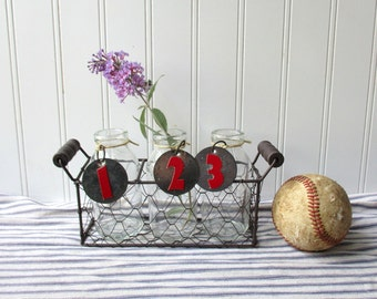 Chicken wire basket with 3 bottle vases and red numbered metal tags Farmhouse Industrial Cottage