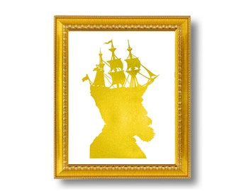 Gold Captain Nautical Silhouette Print Pirate Ship Golden White Beach House Decor Metallic