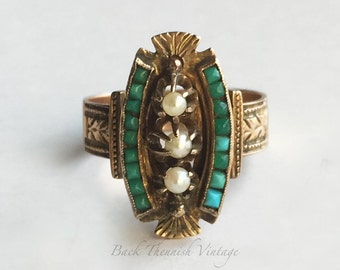 14k Rose Gold Size 6.75-7 Victorian Chaised Turquoise Pearl Cocktail Ring Stunning Back Thennish Vintage 3.7g