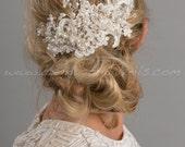 Bridal Lace Hair Comb, Pearl and Crystal Headpiece, Wedding Hair Accessory - Kenesha