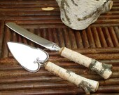 Birch Cake Server and Knife from a Real Birch Tree Birch Cutlery Handmade by The Bent Tree Gallery