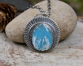 Turquoise Plume Agate Necklace. Long Textured Sterling Silver Stone Pendant Necklace. Unique Art Jewelry.