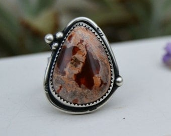 Chunky Fire Opal Ring. Sterling Silver Statement Ring. Rustic Southwestern Jewelry. Size 7.5