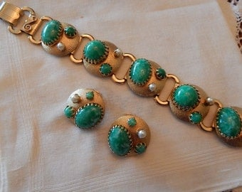 1950's Link Bracelet and Matching Clip Earrings