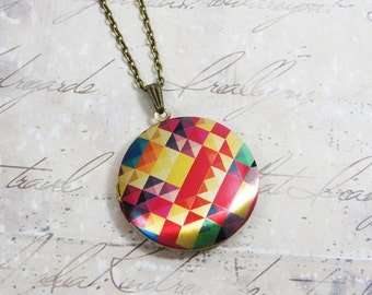 Kaleidoscope Brass Photo Locket Necklace - rainbow colorful abstract art image (R3B)