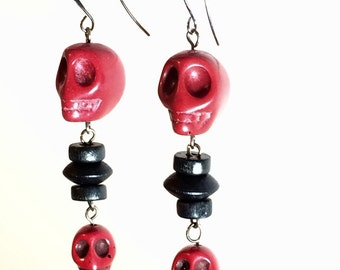 Skull Drop Earrings - The Black Collection