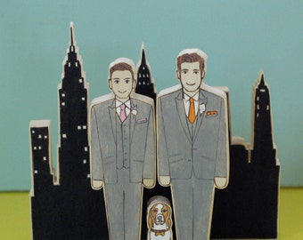Custom Wedding Cake Toppers Couple, Grooms with Cityscape and One Pet Keepsake