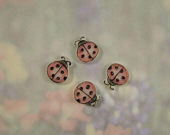 Pink Lady Bug Embellishment set of 4