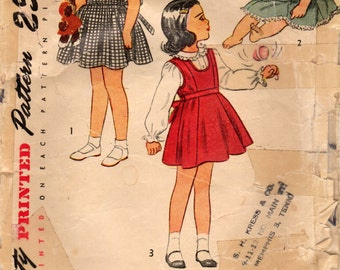 1940s Simplicity 2299 Vintage Sewing Pattern Girl's Princess Jumper and Blouse, Sundress Size 3