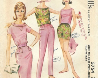 1960s McCall's 5754 UNCUT Vintage Sewing Pattern Misses Sleeveless Top, Tuck-In Blouse, Pencil Skirt, Slim Pants, Shorts Size 10 Bust 31