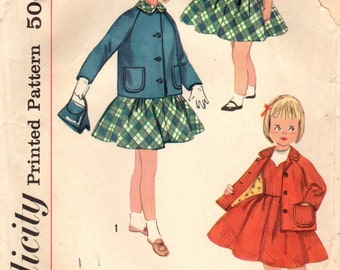 1950s Simplicity 2246 Vintage Sewing Pattern Girls Fitted Jumper and Jacket Size 4