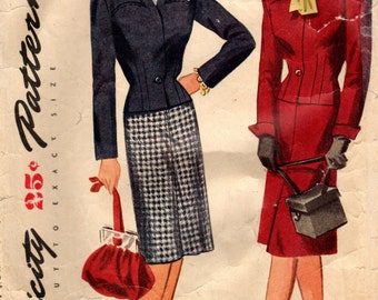 1940s Simplicity 1207 Vintage Sewing Pattern Misses Suit, Jacket and Skirt Size 12 Bust 30