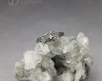 Twig ring - perdiot, sculpted flowers and twigs, limited collection
