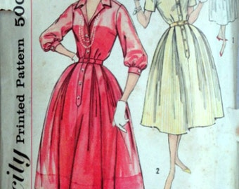 Vintage 50's Simplicity 2412 Slenderette Sewing Pattern, Misses' One-Piece Dress, Day or Evening Dress, Size 12, 32 Bust